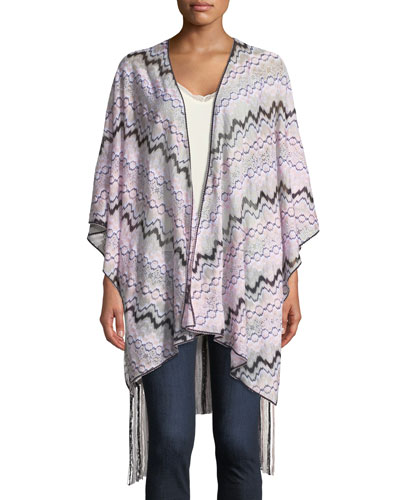 Knitted Wrap w/ Long Fringe Trim