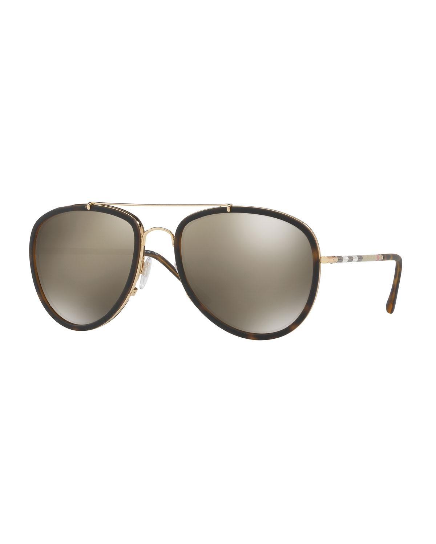 e22a99d47714f Burberry Steel Aviator Sunglasses w  Check Arms