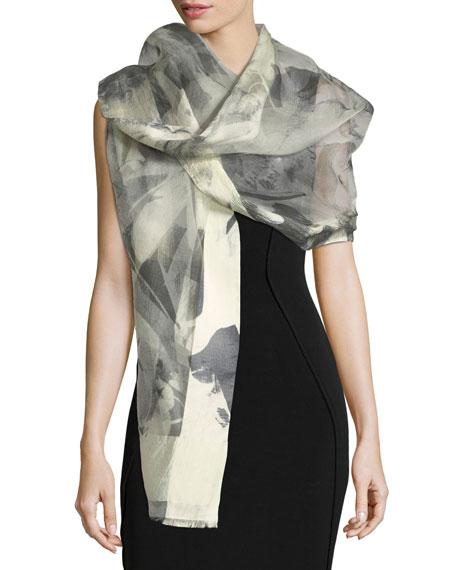 Floral-Print Silk Evening Scarf
