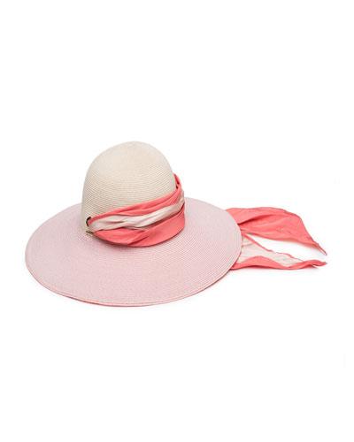 Honey Floppy Hemp Sun Hat with Satin Band