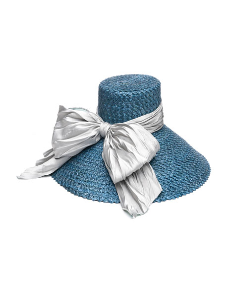 Mirabel Straw Sun Hat w/ Large Satin Bow, Blue