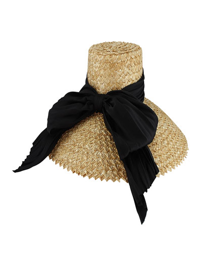 Mirabel Straw Sun Hat w/ Large Satin Bow, Neutral Pattern