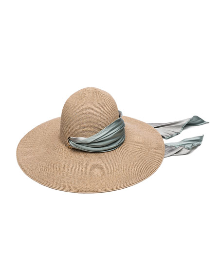 Eugenia Kim Bunny Hemp-Blend Sun Hat with Satin