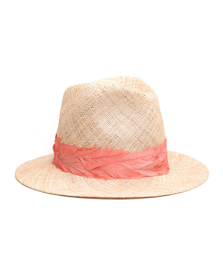 Courtney Straw Panama Hat w/ Feather Band