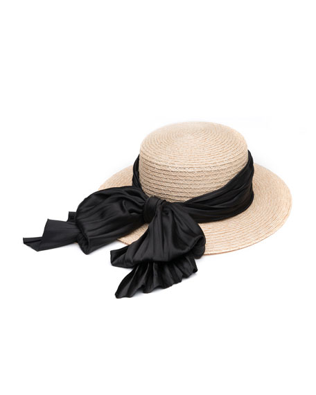Brigitte Boater Hat w/ Satin Bow