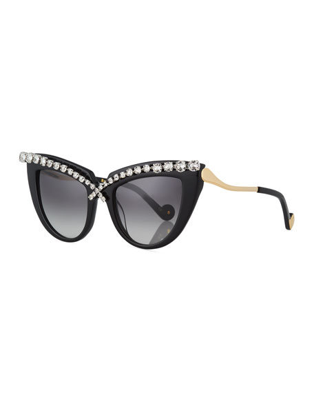 Anna-Karin Karlsson Lusciousness Cat-Eye Crystal Sunglasses, Black