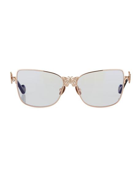 Le Papillon Cat-Eye Optical Frames w/ 3D Butterfly Detail, Rose Gold