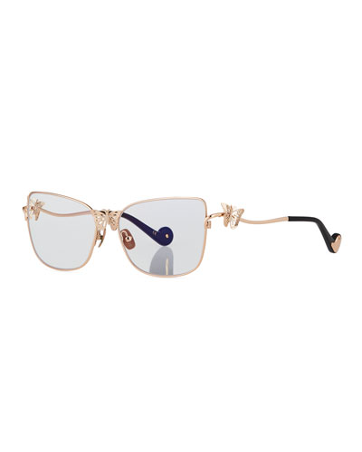 Le Papillon Cat-Eye Optical Frames w/ 3D Butterfly Detail, Rose Gold