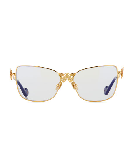 Le Papillon Cat-Eye Optical Frames w/ 3D Butterfly Detail, Gold