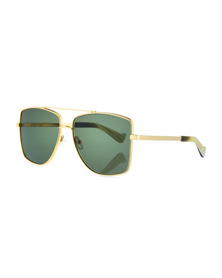 Grey Ant Dempsey Metal Square Sunglasses, Gold