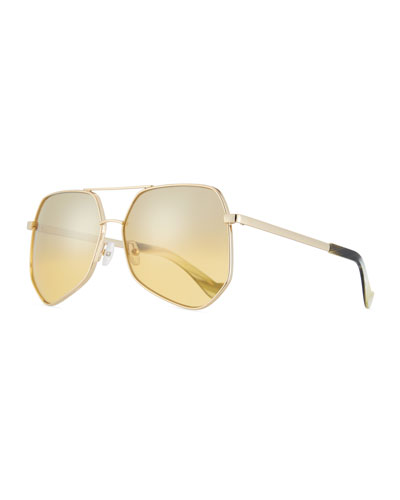 Megalast Mirrored Aviator Sunglasses, Light Yellow