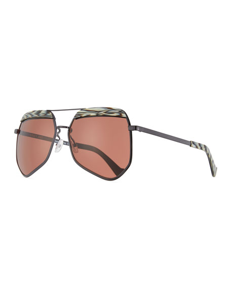 Grey Ant Hexcelled Acetate & Metal Sunglasses, Black