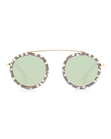 Conti Mirrored Aviator Sunglasses, Black Pattern
