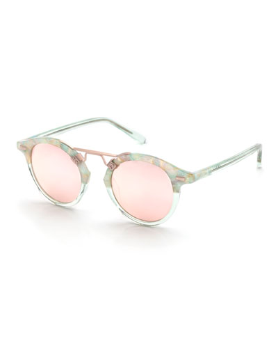 St. Louis Two-Tone Round Mirrored Sunglasses, Rose Gold
