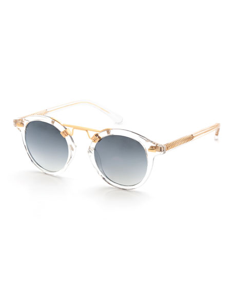 KREWE St. Louis Transparent Round Mirrored Sunglasses, Clear