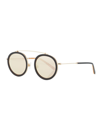 Conti Mirrored Aviator Sunglasses, Rose