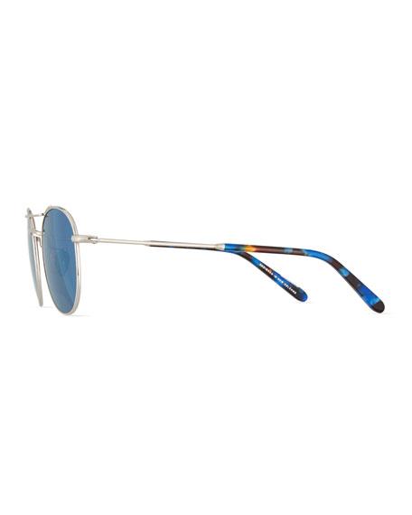 Orleans Mirrored Titanium Round Sunglasses