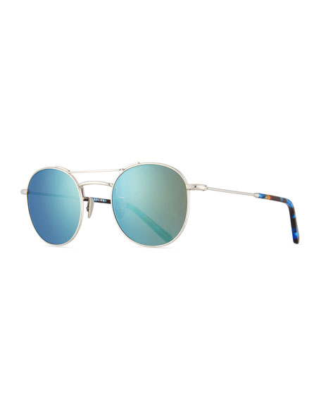 KREWE Orleans Mirrored Titanium Round Sunglasses