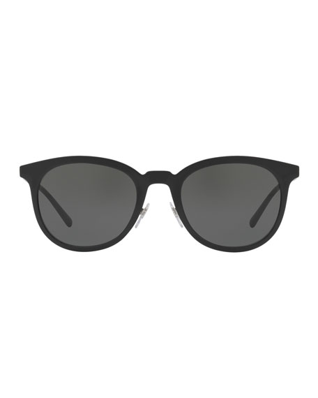Round Metal Monochromatic Sunglasses, Black