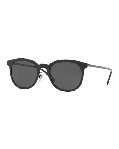 Round Metal Monochromatic Sunglasses, Black