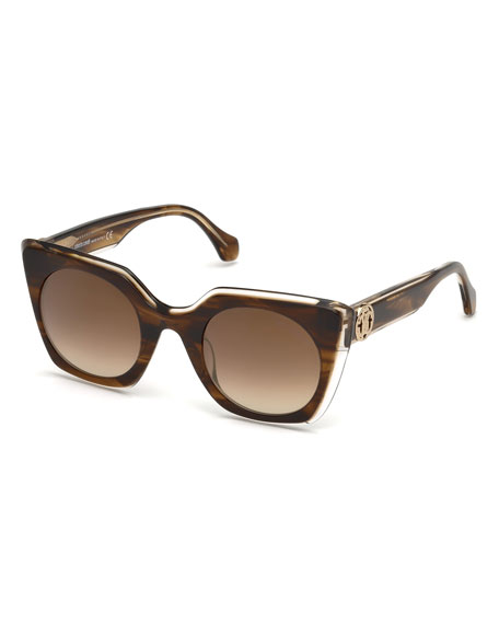 Roberto Cavalli Square Acetate Gradient Sunglasses, Brown