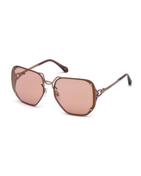 Roberto Cavalli Square Rimless Gradient Sunglasses, Rose Gold