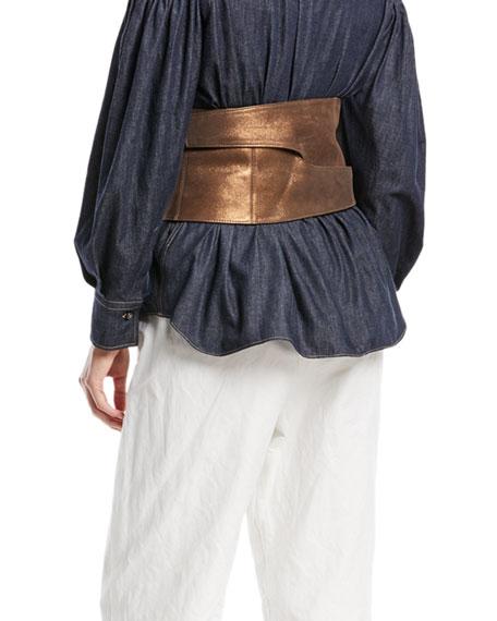 Metallic Leather Corset Belt
