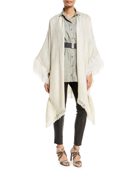Brunello Cucinelli Open-Front Linen-Lurex® Poncho with