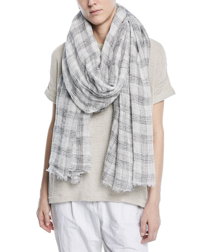 Linen Cotton Plaid Scarf