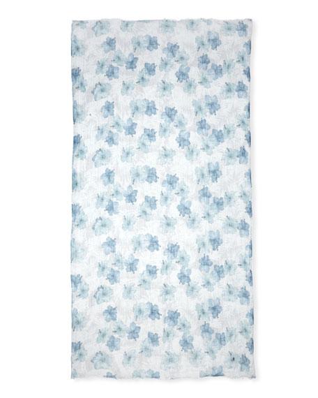 Floral-Print Linen Scarf