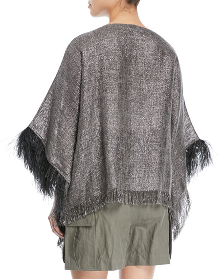 Linen Lurex® Poncho with Feather Cuff