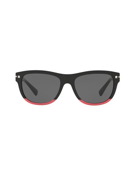 Two-Tone Rockstud Acetate Sunglasses