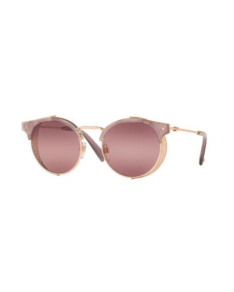 Valentino Round Metal Mesh Sunglasses