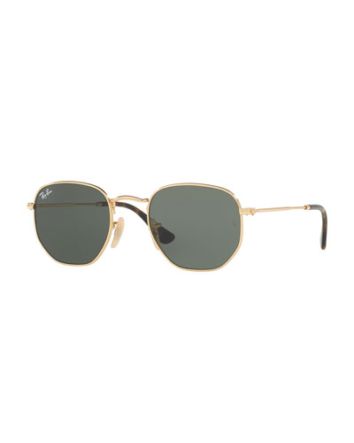 Mirrored Hexagonal Sunglasses, Green