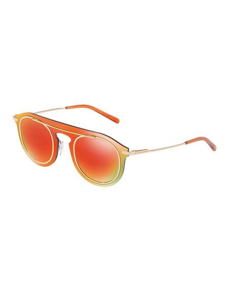 Mirrored Metal Wrap Sunglasses