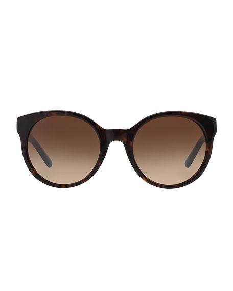 Round Colorblock Sunglasses, Tortoise