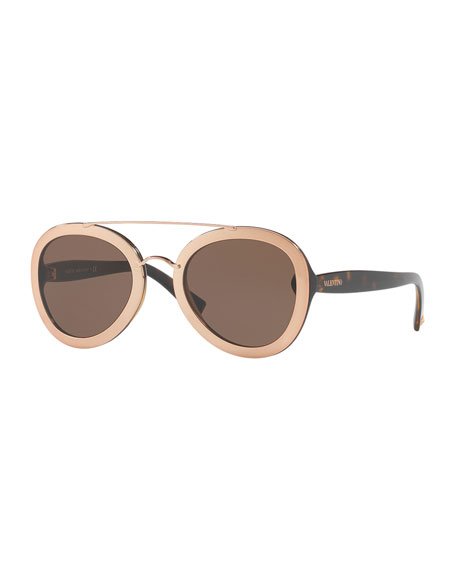 Rocker Double-Bridge Plastic Sunglasses