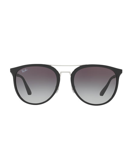 Round Gradient Brow-Bar Sunglasses