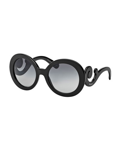 Gradient Round Scroll Sunglasses, Black