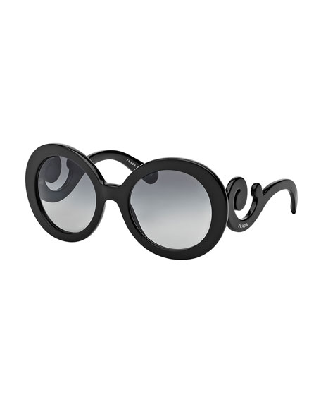 Prada Gradient Round Scroll Sunglasses, Black