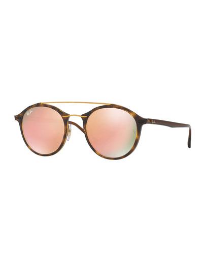 Round Iridescent Double-Bridge Sunglasses, Havana/Copper