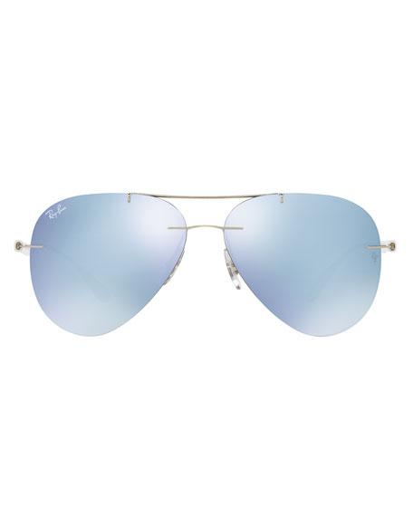 Mirrored Rimless Aviator Sunglasses