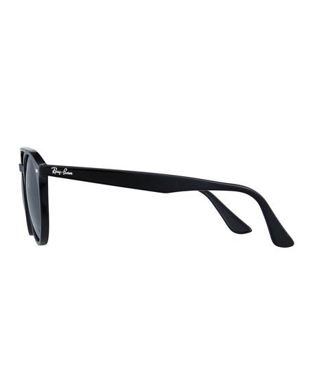 Round Brow-Bar Sunglasses, Black/Green