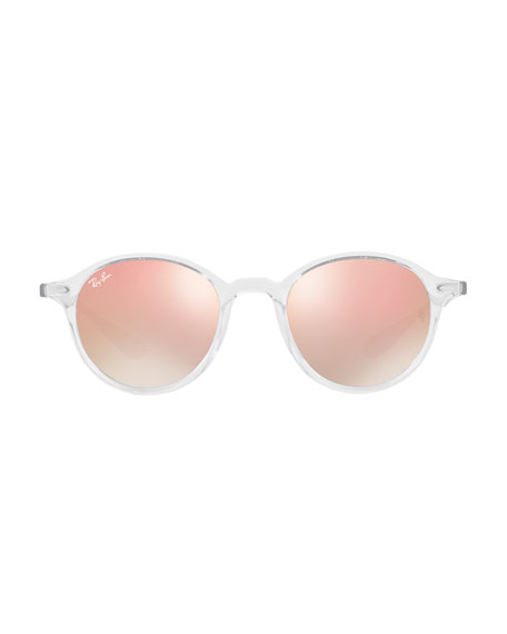Round Two-Tone Flash Sunglasses