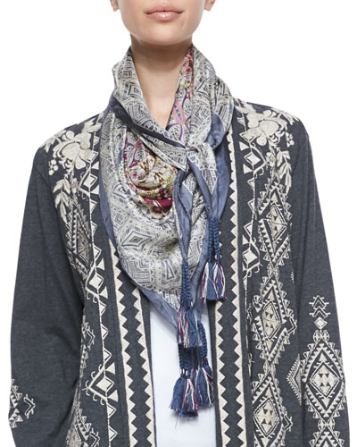 Tulia Embroidered Duster Cardigan & Altivo Printed Silk Georgette Square Scarf, Plus Size