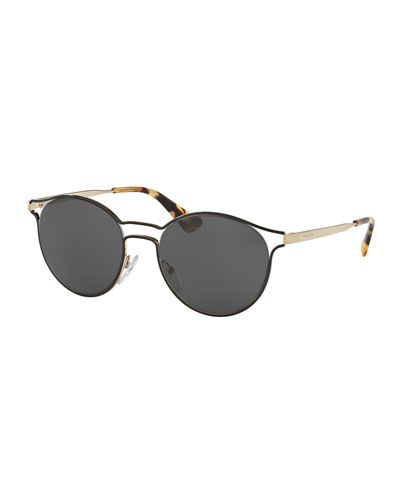 Round Metal Open-Inset Sunglasses, Black/Gold