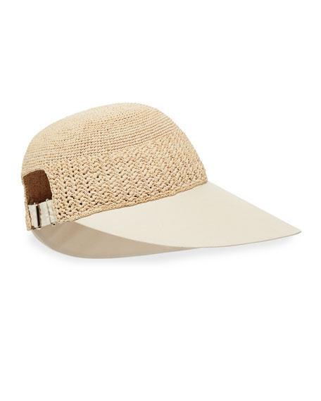 Blanche Raffia Cotton-Brim Cap