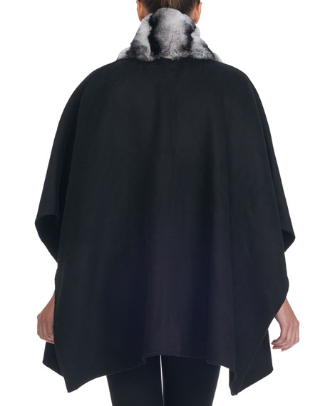 Wool Cape w/ Fur Collar Trim