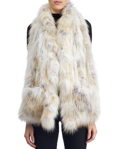 Knit Ruffle Fox Fur Stole w/ Pockets, White
