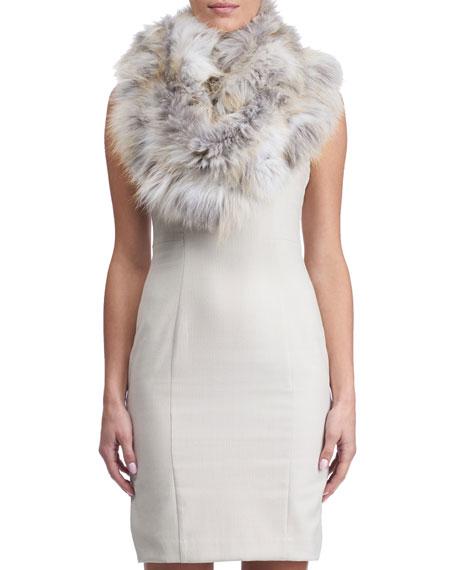 Gorski Fox Fur Ruffle Knit Infinity Scarf, White